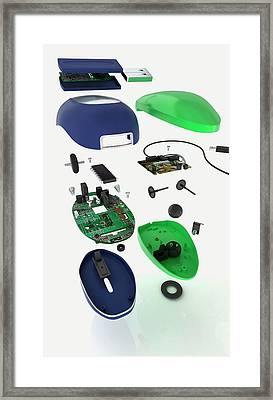Inside Parts Of Mechanical Mouse Framed Print by Dorling Kindersley/uig