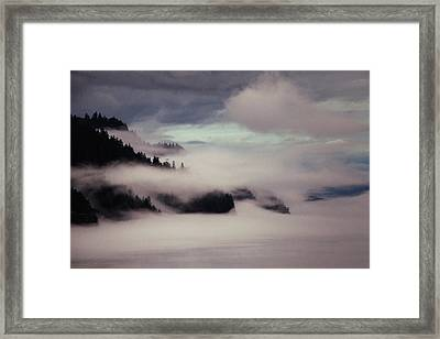 Inside Passage In The Mist Framed Print by Vicki Jauron