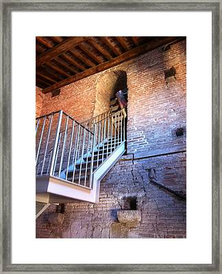 Inside Stairway Of Old Tower In Lucca Italy Framed Print