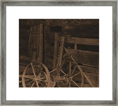 Inside The Barn In Sepia Framed Print by Dan Sproul