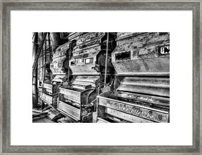 Inside The Cotton Gin Black And White Framed Print by JC Findley