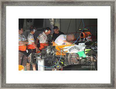 Inside The Force India Garage Framed Print by David Grant