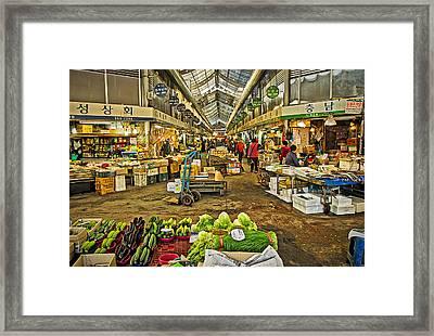 Inside The Gyeongdong Market At Seoul Framed Print by Tony Crehan
