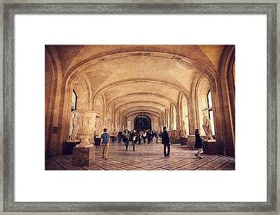 Inside The Louvre Museum Framed Print by Maria Angelica Maira