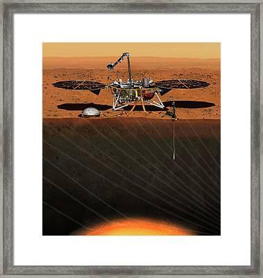 Insight Lander On Mars Framed Print by Nasa/jpl-caltech