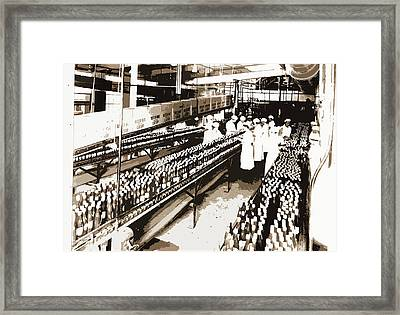 Inspecting Catsup, Condiments, Food Industry Framed Print by Litz Collection