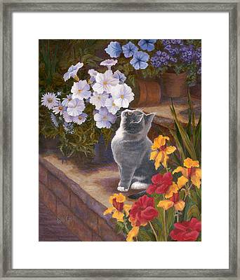 Inspecting The Blooms Framed Print