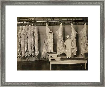Inspection Of Animal Carcasses, 1910 Framed Print