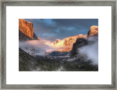 Inspiration Point, Tunnel View, Sunset Framed Print