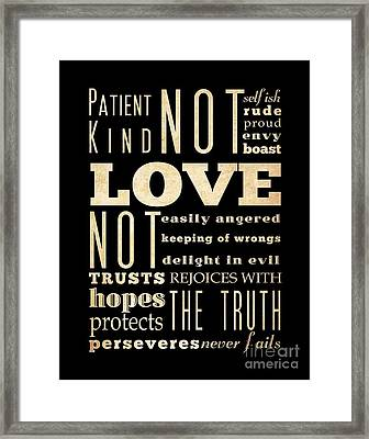 Inspirational Art - Love Never . Framed Print