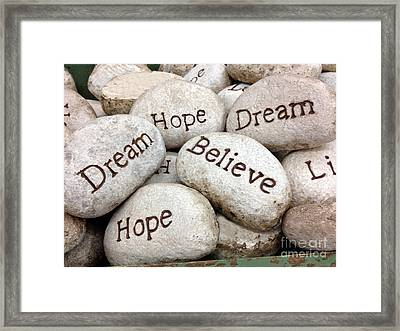 Inspirational Art - Dream Hope Believe Live Typography - Words Of Faith Framed Print by Kathy Fornal