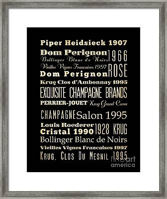 Inspirational Arts - Exquisite Champagne Brands Framed Print by Joy House Studio
