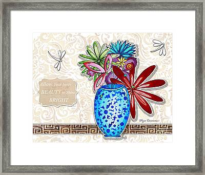Inspirational Floral Dragonfly Painting Flower Vase With Quote By Megan Duncanson Framed Print by Megan Duncanson