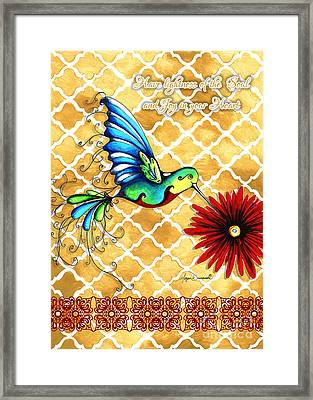 Inspirational Hummingbird Art Gold Red Turquoise Pattern Quote By Megan Duncanson Framed Print