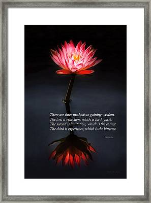 Inspirational - Reflection - Confucius Framed Print by Mike Savad