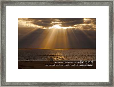 Inspirational Sun Rays Over Calm Ocean Clouds Bible Verse Photograph Framed Print