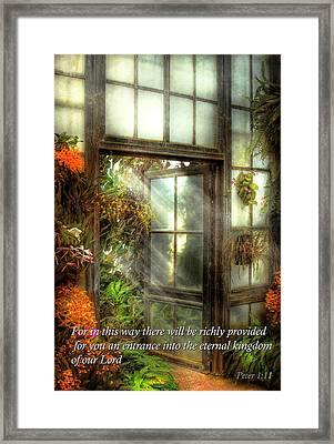Inspirational - The Door To Paradise - Peter 1-11 Framed Print by Mike Savad