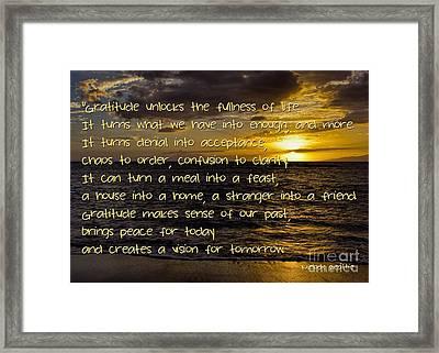 Inspired Gratitude Framed Print