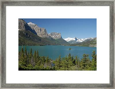 Inspiring View Of Glacier National Park Framed Print by Larry Moloney