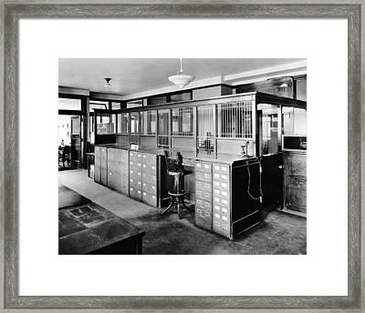 Insurance Company Office Framed Print by Underwood Archives