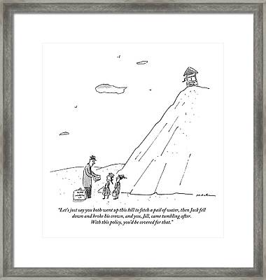 Insurance Man Explains Policy To Jack And Jill Framed Print by Michael Maslin