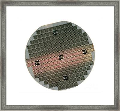 Integrated Circuit Wafer Framed Print by Jerry McElroy