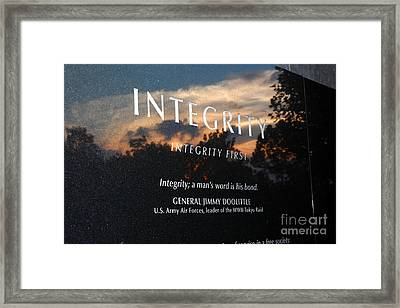 Integrity A Mans Word Is His Bond Framed Print by James Brunker