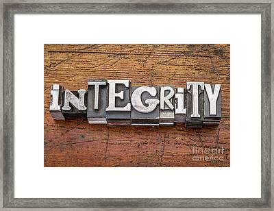 Integrity Word In Metal Type Framed Print