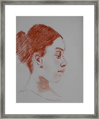 Intent Conte Sketch Framed Print by Carol Berning