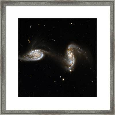 Interacting Pair Of Spiral Galaxies Framed Print by Celestial Images