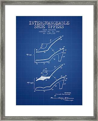 Interchangeable Shoe Uppers Patent From 1949 - Blueprint Framed Print by Aged Pixel