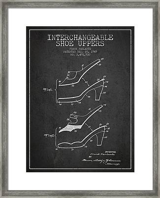 Interchangeable Shoe Uppers Patent From 1949 - Charcoal Framed Print by Aged Pixel