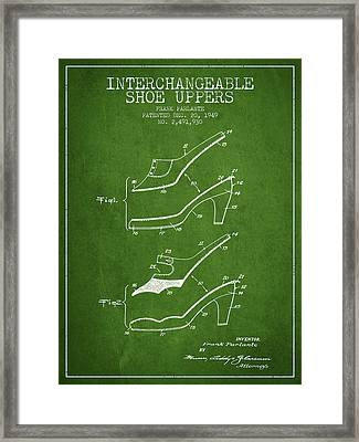 Interchangeable Shoe Uppers Patent From 1949 - Green Framed Print by Aged Pixel