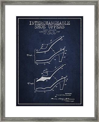 Interchangeable Shoe Uppers Patent From 1949 - Navy Blue Framed Print by Aged Pixel