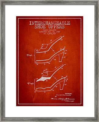 Interchangeable Shoe Uppers Patent From 1949 - Red Framed Print by Aged Pixel