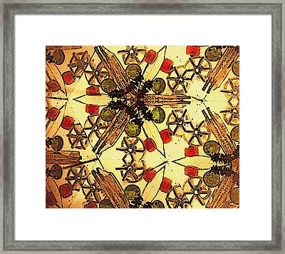 Interconnected Stars Inside A Kaleidosope Framed Print by Sandra Pena de Ortiz