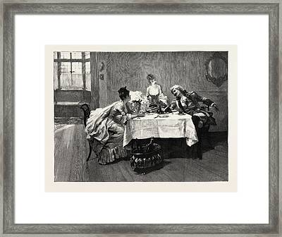 Interested From The Painting Framed Print by English School