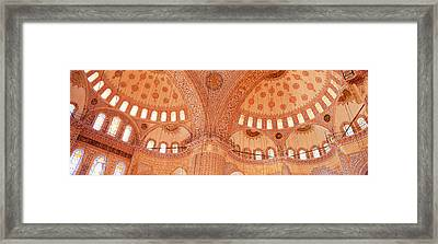 Interior, Blue Mosque, Istanbul, Turkey Framed Print by Panoramic Images