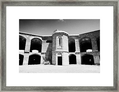 Interior Brick Walls And Bastion Corner Staircase Of Fort Jefferson Dry Tortugas National Park Flori Framed Print by Joe Fox