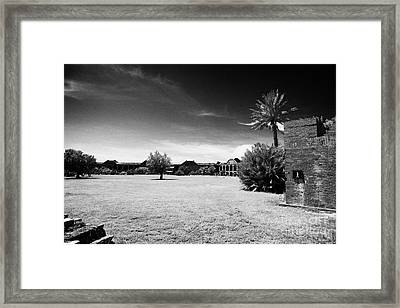 Interior Courtyard Parade Ground Of Fort Jefferson Dry Tortugas National Park Florida Keys Usa Framed Print by Joe Fox