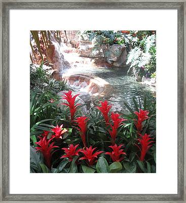 Framed Print featuring the photograph Interior Decorations Water Fall Flowers Lights Shades by Navin Joshi