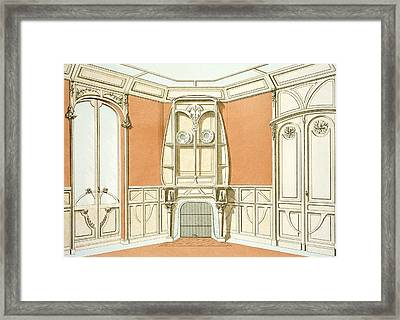 Interior Design For A Dining Room Framed Print by F. Barabas
