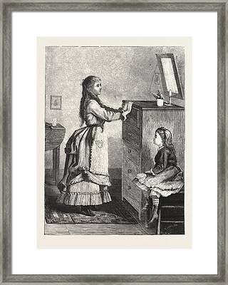 Interior In The Cottage, 1876, Uk, Britain Framed Print
