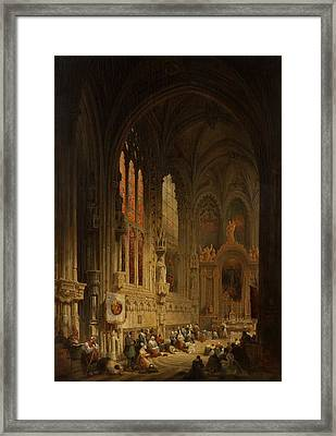 Interior Of A Cathedral, 1822 Or 1829 Framed Print by David Roberts