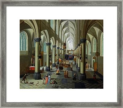 Interior Of A Church Oil On Panel Framed Print by Pieter the Elder Neeffs