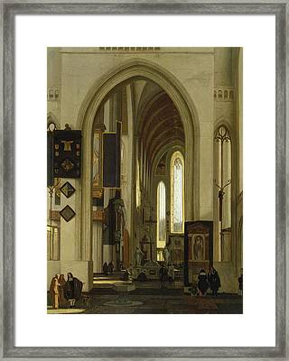 Interior Of A Church With Figures, 1685 Oil On Panel Framed Print by Emanuel de Witte