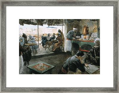 Interior Of A Coffee In A City Framed Print by Everett
