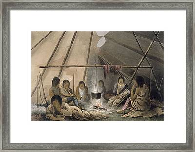 Interior Of A Cree Indian Tent, 1824 Framed Print by Lieutenant Hood
