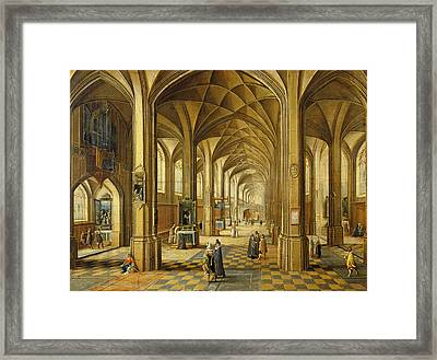 Interior Of A Gothic Style Church With Three Naves Oil On Canvas Framed Print by Hendrik the Younger Steenwyck