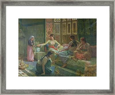 Interior Of A Harem Framed Print by Leon-Auguste-Adolphe Belly